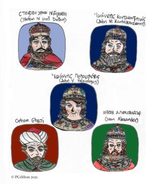 Story characters set1- Stefan IV Dusan, John VI Kantakouzenos, John V Palaiologos, Sultan Orhan, Tsar Ivan Alexander