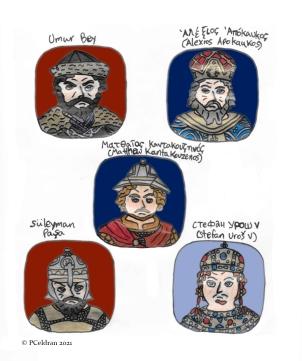 Story characters set2- Umur Bey, Alexios Apokaukos, Matthew Kantakouzenos, Suleiman Pasha, Stefan Uros V
