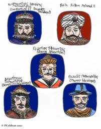 Story characters set1- Constantine XI Palaiologos, Mehmed II, George Sphrantzes, Demetrios Palaiologos, Thomas Palaiologos